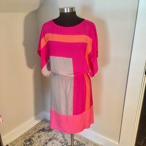 Hot Pink, Orange, & Taupe Color Block Shift Dress